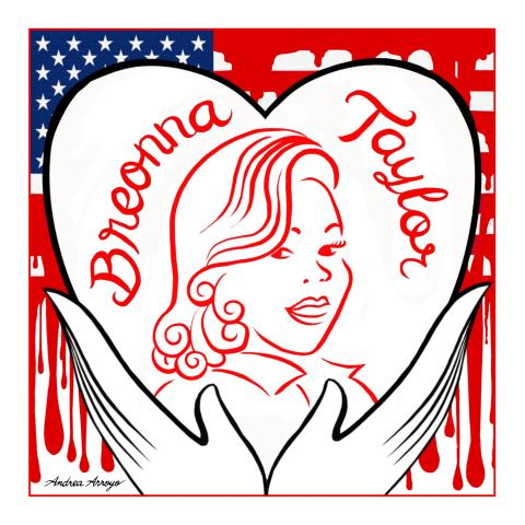 Breonna Taylor portrait, held by hands and heart, against a bleeding American flag.
