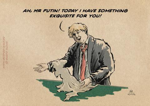 Cartoon Boris Johnson holding a piece of skin shaped like England speaking to a customer named Putin
