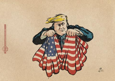 Cartoon of Trump ripping an american flag into two