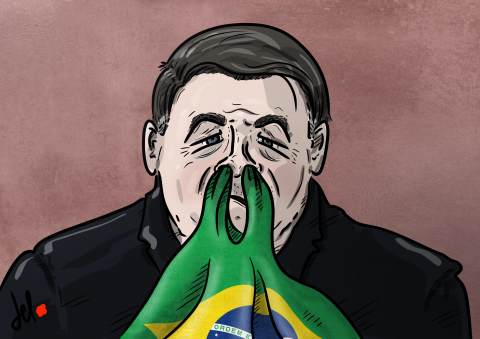 Cartoon by Emanuele Del Rosso about Brazil president Bolsonaro