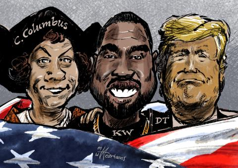 Columbus, Kanye West and Trump wrapped together