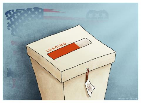 "Ballot box, in which, instead of a slot, the sign ""Loading...""."