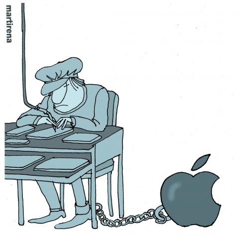 Cartoon about slave labor