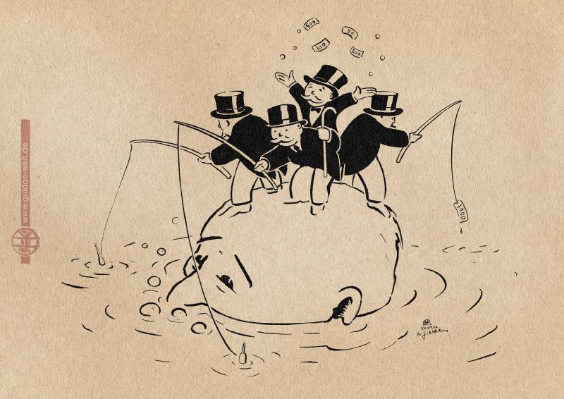 Drawing: Rich people standing on the head of a drowning person
