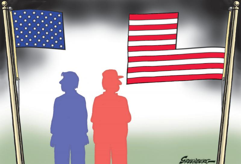 The American flag is divided between polarized factions.