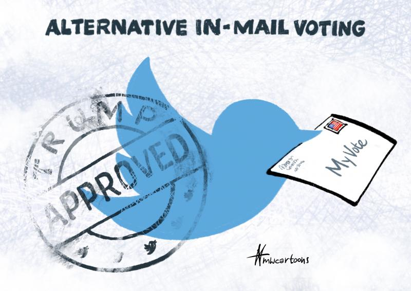 Twitter bird carrying a vote