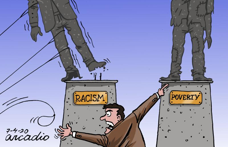 Cartoon about the fight against racism and poverty