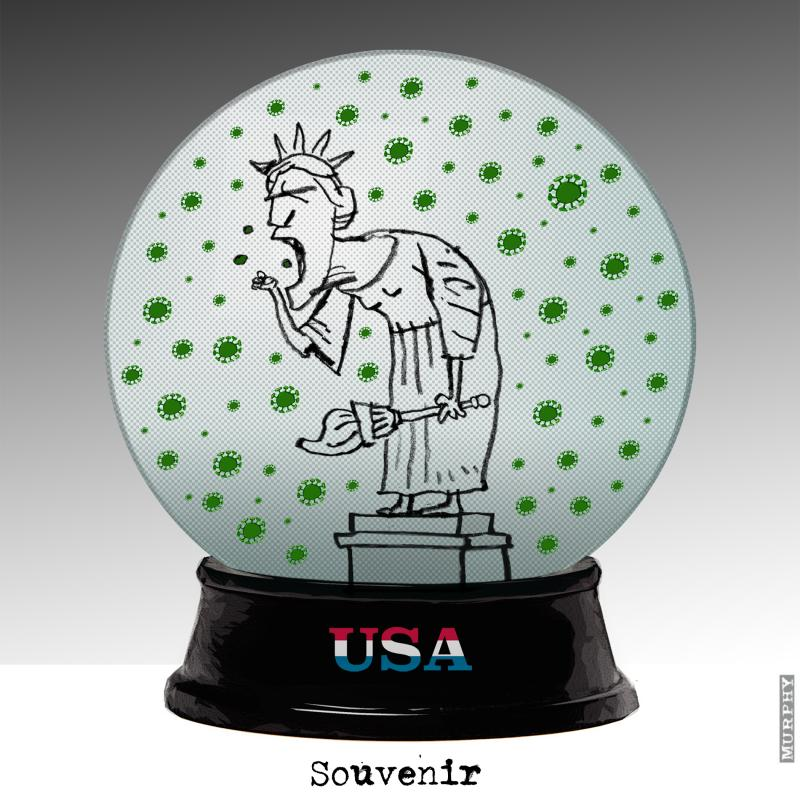 Statue of Liberty hacking in a Covid-19 filled snow globe
