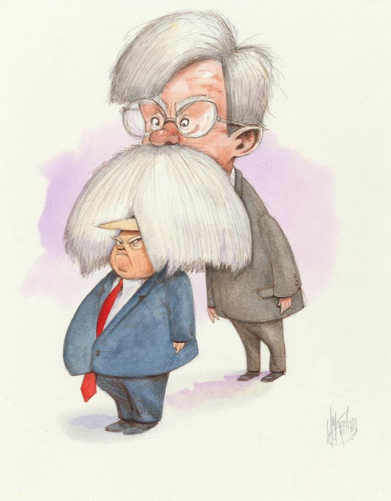 Cartoon about John Bolton and Trump