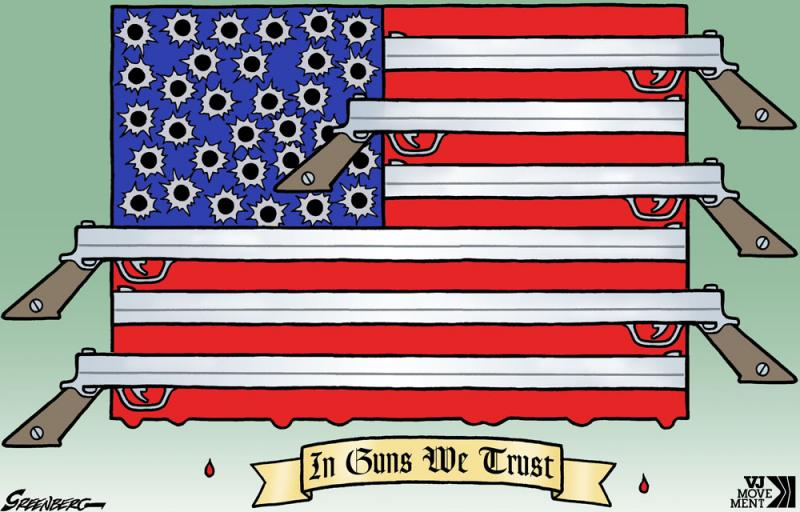 Cartoon about gun culture in the USA