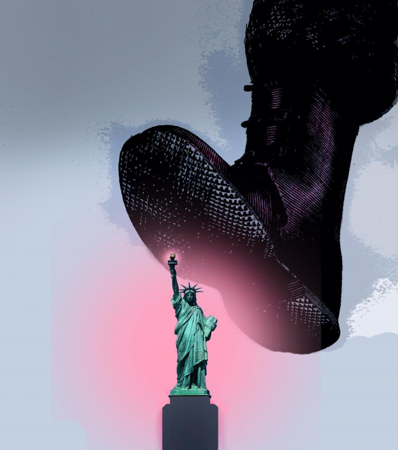 The statue of Liberty being crushed by a large military boot.