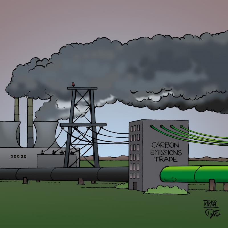 Greenwashing CO2 Carbon Emissions Tax Carbon Trade business economy energy production consumption cartoon Timo Essner