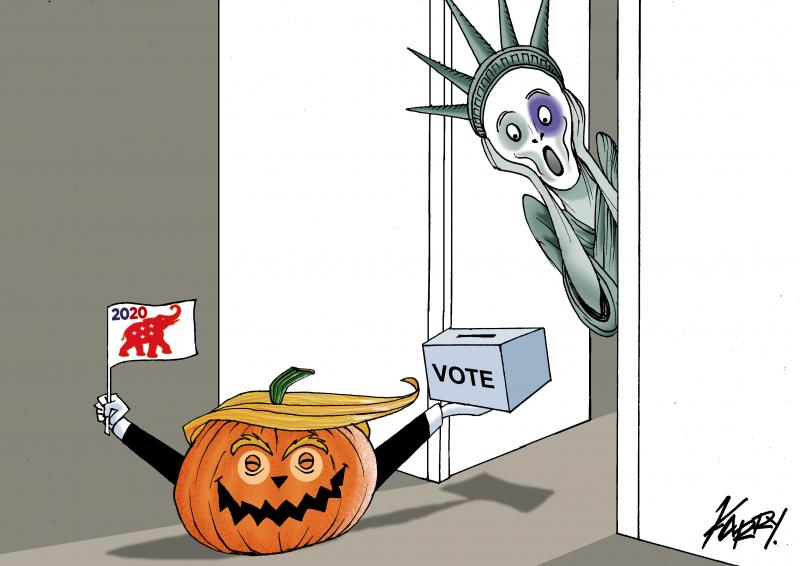 Trump asks for votes on halloween!